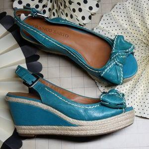 Franco Sarto Peep Toe Bow Wedges size 7